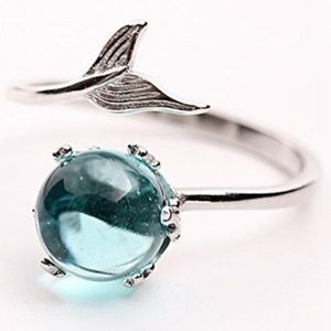 Crystal Ball Sterling Silver Fish Tail Bypass Ring